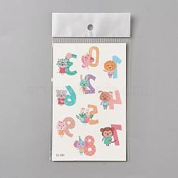 Faux tatouages temporaires amovibles, imperméable, autocollants papier de dessin animé, animal avec numéro, colorées, 120~121.5x75mm(AJEW-WH0061-B01)