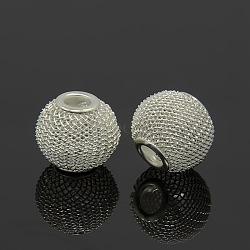 Argent ton rondelle perles de maille de fil de fer matériels de bricolage pour les épouses de basket-ball boucles d'oreilles faisant, taille: environ 16mm de diamètre, épaisseur de 14mm, Trou: 5mm(X-IFIN-16D-S)