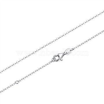 925 Sterling Silver Cable Chains Necklaces, Carved with 925, Real Platinum Plated, 15inches~17.7inches(38~45cm), 1mm(NJEW-FF0005-01P)