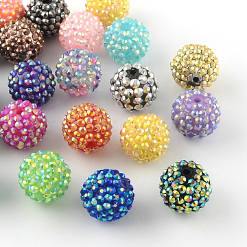 18mm Mixed Color Round Resin+Rhinestone Beads