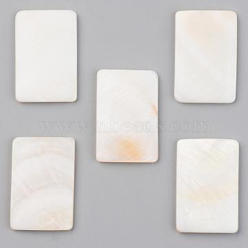 Natural Freshwater Shell Cabochons, Rectangle, Seashell Color, 30x20x3.5mm(X-SHEL-S276-105B)