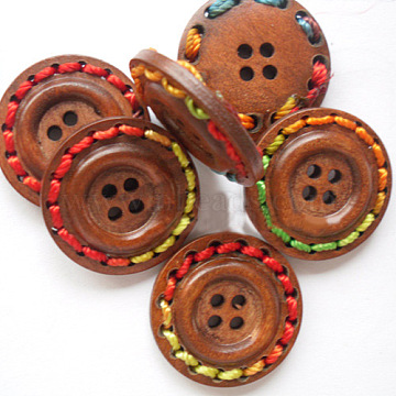 Round 4-holeButtons with Colorful Thread Wrapped, Wooden Buttons, SaddleBrown, 25mm in diameter(X-NNA0Z51)