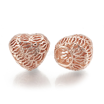 Rose Gold Heart Alloy Beads