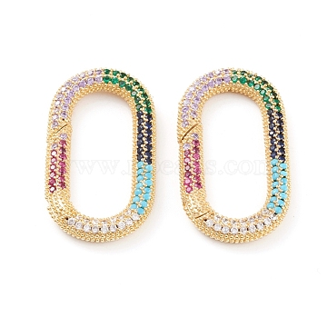 Brass Micro Pave Cubic Zirconia Spring Gate Rings, Long-Lasting Plated, Oval, Colorful, Real 18K Gold Plated, 37x20x4mm(ZIRC-L093-50G)