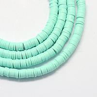 perles d'argile polymère faites à la main écologiques, disque / rond plat, perles heishi, aigue-marine, 4x1 mm, trou: 1 mm, environ 380~400 pcs / brin, 17.7 pouces