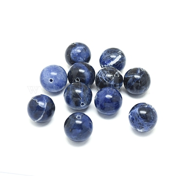 Natural Sodalite Beads, Round, 16mm, Hole: 1.4mm(X-G-F222-39A-16mm)