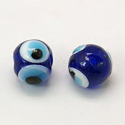 Perles vernissées manuelles, mauvais œil, rond, bleu, environ 10 mm de diamètre, Trou: 1mm(X-DT249J-3)
