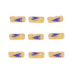 Perles en émail d'alliage de style chinois, Tube, or, bleu, 13.5x5mm, Trou: 1.6mm(X-ENAM-L015-08B-G)