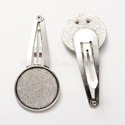 Accessoires de pince à cheveux fer à repasser, avec alliage de style tibétain plats supports de cabochons rond, argent antique, plateau: 20 mm; 56 mm(X-MAK-J002-01AS)
