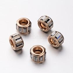 Strass de verre en laiton perles européennes, Perles avec un grand trou   , coeur d'or, colonne, diamant noir, 10x7mm, Trou: 5mm(CPDL-M017-13)