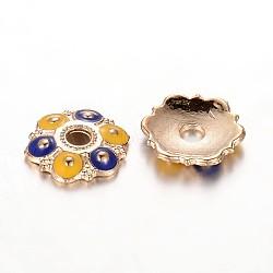 Plaqué or alliage de fleur casquettes émail de perles, 6 pétales, bleu, 13x2mm, Trou: 3mm(ENAM-J556-03G)