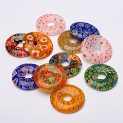 pendentifs en verre donut / pi disque millefiori, couleur mélangée, 29~30x4~6 mm, trou: 8 mm(X-LK-N001-09)