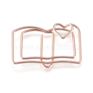 Book Shape Iron Paperclips, Cute Paper Clips, Funny Bookmark Marking Clips, Rose Gold, 19x30x3mm(TOOL-L008-022RG)
