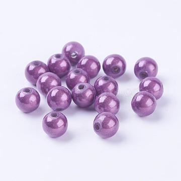 Spray Painted Acrylic Beads, Miracle Beads, Bead in Bead, Round, Plum, 8mm, Hole: 1.8mm; about 1800pcs/500g(PB9284-5)