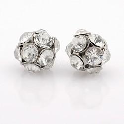 Perles de cristal strass de fer, rond et creux, platine, 14mm, Trou: 2mm(RB-J490-01P)