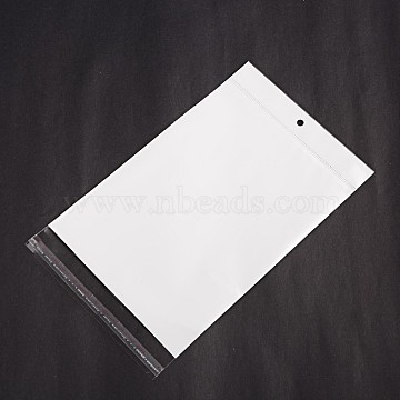 Rectangle Cellophane Bags, White, 25.8x14.5cm; Unilateral Thickness: 0.05mm; Inner Measure: 20.7x14.5cm, Hole: 6mm(X-OPC-F001-07C)