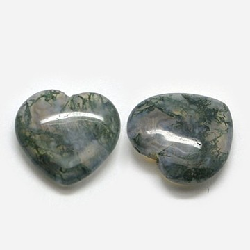 14mm DarkOliveGreen Heart Moss Agate Beads
