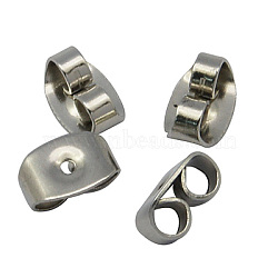 Earrings Findings Original Color 304 Stainless Steel Ear Nuts, Earring Backs, Size: about 4.5mm wide, 6.5mm long, 3.2mm thick, hole: 0.7mm(X-STAS-Q037-1)