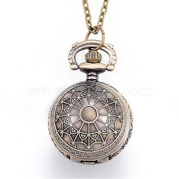 Carved Alloy Flat Round Pendant Necklace Quartz Pocket Watches, with Iron Chains and Lobster Claw Clasps, Antique Bronze, 31.1''(79cm)(WACH-P006-06)