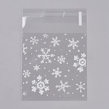 Printed Plastic Bags, with Adhesive, Snowflake, Clear, 7.2x7cm; about 95~100pcs/bag(PE-WH0003-02B)