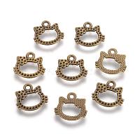 Cat Head Alloy Pendant Rhinestone Settings, Lead Free & Cadmium Free & Nickel Free, Antique Bronze, 15.5x16.5x1.5mm, Hole: 2mm; Fit for 0.8~1mm rhinestone