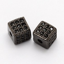 Cube Brass Micro Pave Cubic Zirconia Beads, Cadmium Free & Nickel Free & Lead Free, Gunmetal, 6x6x6mm, Hole: 1mm(X-ZIRC-P013-03B-FF)