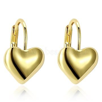 Classic Tin Alloy Leverback Earrings, Heart, Golden, 16x11mm(EJEW-BB20927)