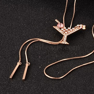 Cocktail Long Adjustable Alloy Rhinestone Lariat Necklaces, with Brass Snake Chain, Pink, 38.6inches(NJEW-F193-M03-RG)