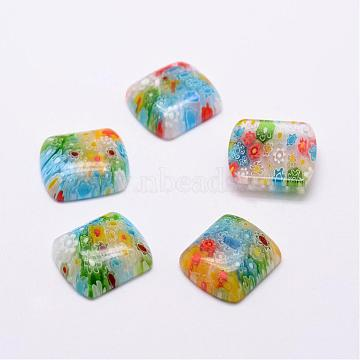 Handmade Millefiori Glass Cabochons, Rectangle, Mixed Color, 18x16x5mm(LAMP-G121-26)