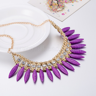 Plastic Imitation Turquoise Bib Statement Necklaces(NJEW-BB31290-D)-4