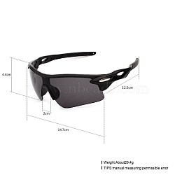 Trendy Men Sport Sunglasses, Plastic Frames and Polycarbonate Lenses, Black, 14.7x4.4cm(SG-BB21938-11)