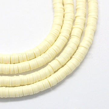Flat Round Environmental Handmade Polymer Clay Bead Spacers, Light Goldenrod Yellow, 4x1mm, Hole: 1mm; about 380~400pcs/strand, 17.7 inches(X-CLAY-R067-4.0mm-21)