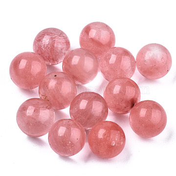 Cherry Quartz Glass Beads, No Hole/Undrilled, Round, 8mm(G-R483-10-8mm)