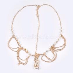 Богемные женщины tassel head chain, с железом, имитации жемчуга, сплавочная фурнитура горного хрусталя, свадебные украшения для волос на лбу, золотые, 53.7см; подвеска: 39x14.5x2.5 мм(OHAR-WH0005-01G)