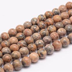 """Brins de perles de jaspe en peau de léopard jaune naturel, rond, 6mm, trou: 1mm; environ 63 pcs/chapelet, 15.5""""(G-K153-B44-6mm)"""
