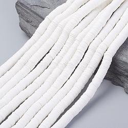 Perles heishi en pâte polymère faites main, disque / plat rond, blanc, 8x0.5~1mm, trou: 2mm; environ 380~400 pcs/chapelet, 17.7 pouces