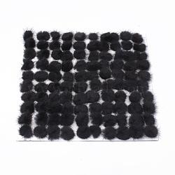 Décoration de boule de fourrure de vison faux, boule de pom pom, pour bricolage, noir, 2.5~3 cm(X-FIND-S267-3cm-16)
