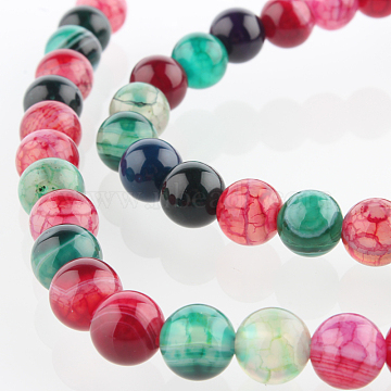 6mm Mixed Color Round Natural Agate Beads