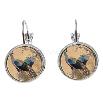 Brass Leverback Earrings, with Picture Glass, Flat Round with Peacock Pattern, Silver Color Plated, Sandy Brown, 28mm; Pin: 0.8mm(EJEW-O088-42)