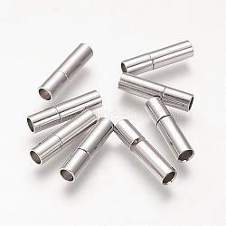 Fermoirs laiton à baïonnette, accessoire idéal pour la fabrication de bijoux, couleur platine, 17x4mm, Trou: 3mm(KK646-4)