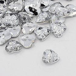 Boutons en acrylique avec strass, 2-trou, facette, cœur, cristal, 13x13x4mm, Trou: 1mm(BUTT-J007-01-C)