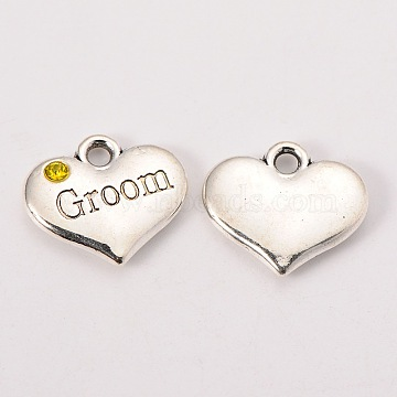 Wedding Theme Antique Silver Tone Tibetan Style Alloy Heart with Groom Rhinestone Charms, Citrine, 14x16x3mm, Hole: 2mm(X-TIBEP-N005-20C)