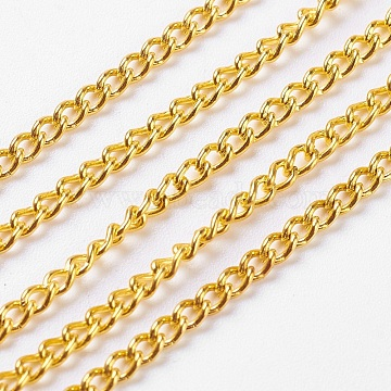 Unwelded Iron Twisted Chains, Curb Chains, with Spool, Golden, 3.3x2.1x0.6mm(X-CH-R078-09G)