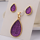 Drop 304 Stainless Steel Acrylic Pendants & Stud Earrings Jewelry Sets(SJEW-F047-02A)-1