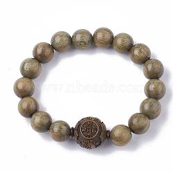 """Bracelets de mala en bois de santal vert, Bracelets élastiques, rond, Darkkhaki, 2"""" (5.1 cm)(BJEW-S140-03B)"""
