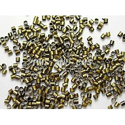Brass Crimp Beads, Cadmium Free & Lead Free, Tube, Antique Bronze Color, Size: about 2.5mm long, 2.5mm wide, hole: 2mm; about 550pcs/10g(X-KK-S068-AB-LF)