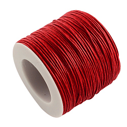 Eco-Friendly Waxed Cotton Thread Cords, Macrame Beading Cords, for Bracelet Necklace Jewelry Making, Red, 1mm; about 100yards/roll(YC-R008-1.0mm-162)