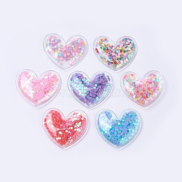 PVC and Paillette Decoration, DIY Craft Decoration, Heart, Mixed Color, 44x48x7mm(X-AJEW-F037J)