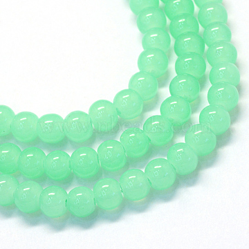 Baking Painted Imitation Jade Glass Round Bead Strands, Light Green, 10~10.5mm, Hole: 1.5mm; about 85pcs/strand, 31.4 inches(X-DGLA-Q021-10mm-22)