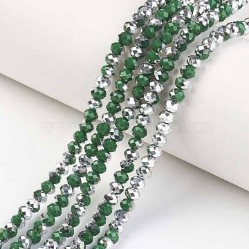 Electroplate Opaque Glass Beads Strands, Half Silver Plated, Faceted, Rondelle, Dark Green, 4x3mm, Hole: 0.4mm; about 145pcs/strand, 18.9 inches(48cm)(X-EGLA-A034-P4mm-M11)